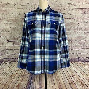 LRL Lauren Jeans Co Blue Plaid Button Front Shirt